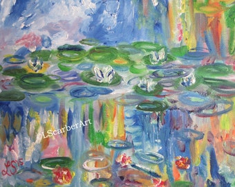 Li'l Water Monet Inspired Lily Pond; 10x8 Original Oil Painting, Abstract style, Blue Water, Great Gift Idea, Hand painted, Ready to Hang