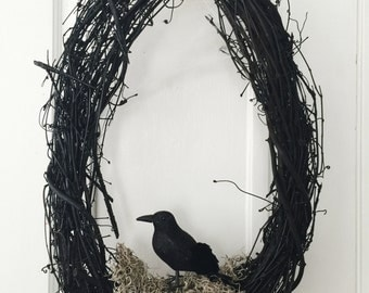 Raven Wreath || Halloween Wreath || Crow || Gothic Wreath