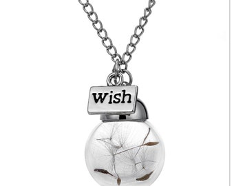 Dandelion wishes silver necklace