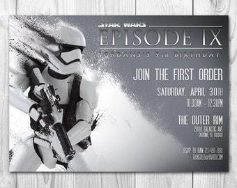 Star Wars Invitation - Stormtrooper Invitation - Star Wars Birthday Invitation - The Force Awakens - FREE Thank you cards
