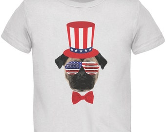 4th of July Funny Pug White Toddler T-Shirt