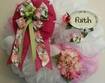Pink and White Faith Wreath