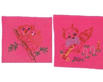 Foxy Fox and Kool Koala Pink Embroidery Pieces