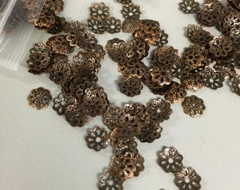 Small 6mm Antique Copper Flower Filigree Bead Caps Jewelry Supplies Findings - 50 Pieces