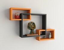 DecorNation MDF Wall Shelf Set of 3 Intersecting Wall Shelves - Orange & Black
