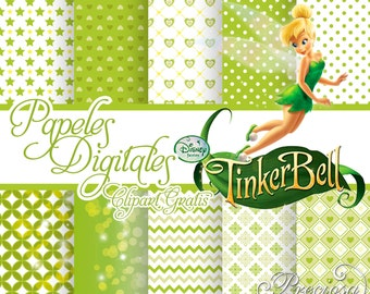 Digital papers TinkerBell + Free Clipart