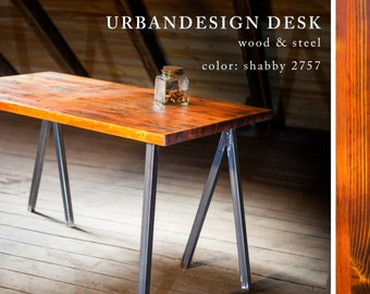 Shabby table made of solid wood and steel