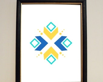 Blue and Yellow Abstract - 8X11 Wall Art