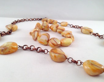 Long necklace and bracelet with faux stones in fimo on yellow-brown-Necklace and bracelet with faux stone made in polymer clay