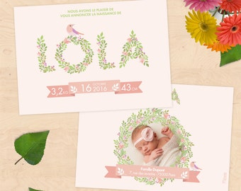 (Girl or boy) customizable birth announcement - floral Collection