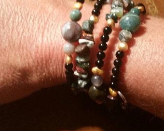Natural stone beaded wrap bracelet