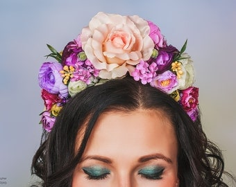 Pink and beige Flower Crown, Adult Floral Crown, Fairy Costume Woodland Boho Bridal Party Headband Wreath, Lana Del Rey inspired