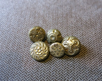 Group of Five 1850's Gilt Brass Vest Buttons