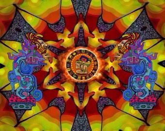 Snake God mirror with Mayan calendar