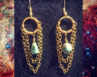 Gold turquoise chain dangles