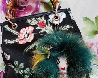 Teal LolaDora Doll Bag Charm