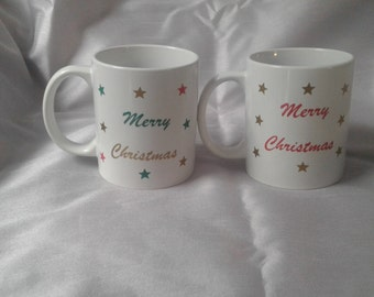 Christmas mugs x2 **gift wrapped** free gift bag