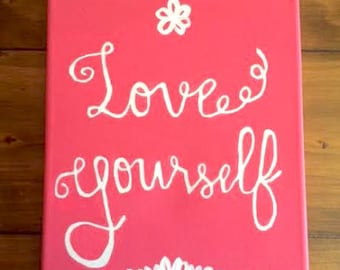 Love Yourself Script Canvas Wall Art for Home or Office Decor