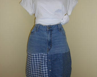 Upcycled jean and flannel skirt