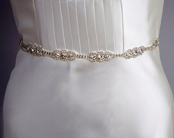 Sparking Crystal embellished wedding sash, Silver rhinestone wedding belt, Bridal Belt, Ivory, White, 6