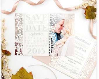 50 Vintage Wedding Save the Date Card