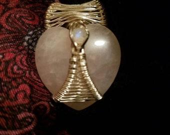 Rose quartz & moonstone, multi stone wire wrap pendant