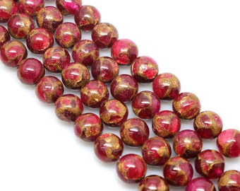 Ruby Red, Golden Pressed Jade, Round  Beads, Jade Beads, 6 8 10 12mm, (OB034)