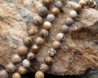 Picture Jasper, Smooth Round Beads, Jade Beads, DIY Jewelry, Semi Precious Stones, 4 6 8 10 12mm, (OB016)