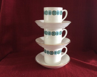 Staffordshire Manhattan Bone China Coffee Cups and Saucers set of three