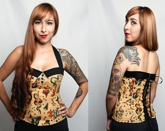 Tattoo Print Rockabella. Vintage/ Flash Art Punk Top Sz. S, M, L, XL