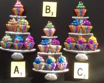 Cupcake Heaven - glittery cupcake stand brooch