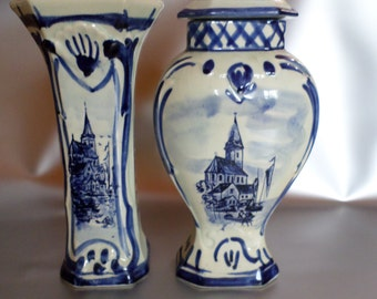 Delft blue vases set, hand painted, the middle of last century