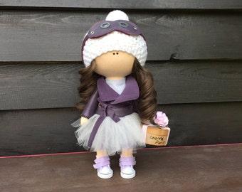 Handmade Fabric Doll Aviator doll Decor doll Tilda Doll Textile doll Rag Interoir Doll brunette