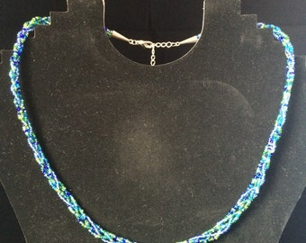 Braided Blue and Green Beaded Necklace