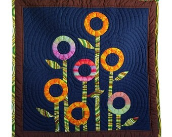 """Wall Hanging Quilts - Crib quilts - Baby quilt40x47"""" Appliqued Quilts -  Hand Stitched - Modern Quilts - Navy blue - Wall Décor - Art Decor"""
