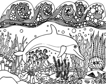 Dolphin Home, 1 Adult Coloring Book Page, Printable Instant Download