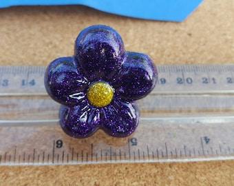 Purple glitter flower adjustable ring