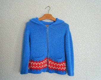 vintage. 1970s folk knit cardigan