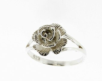 Sterling Silver Rose Ring - UK Sizes - K - Q - US Sizes 5 - 8