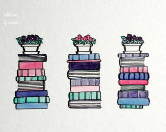 Original Watercolor Painting: Books & African Violets