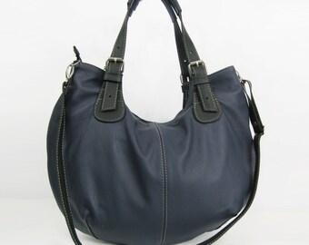 Leather HOBO Bag, Leather Shoulder Bag, Cross Body Handbag, Large Hobo, Leather Purse, Everyday Shopper Bag Leather Bag Gift Navy/Black Hobo