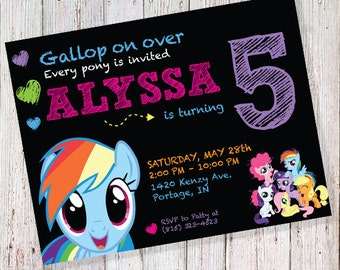 My Little Pony Invitation - FREE My Little Pony Thank You Labels with this purchase! *DIGITAL FILE*