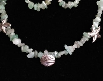 "19"" green necklace with sea shore theme-6"