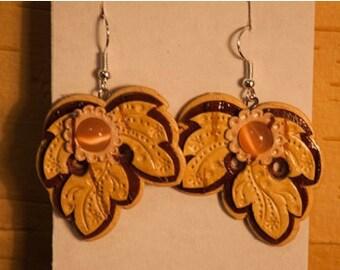 """Earrings made of birch bark """"Leaflets""""."""