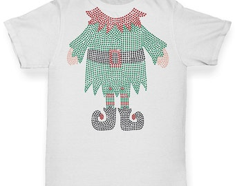 Girl's Headless Santa's Helper Rhinestone Diamante T-Shirt