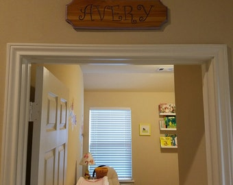 Cedar Carved Name Sign