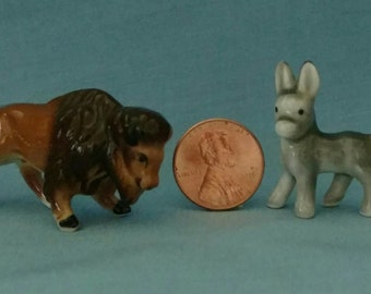 Vintage miniature china Buffalo and Donkey figurines