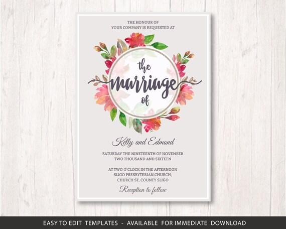 Flowers Wedding Invite Template Set Printable Wedding Invitation