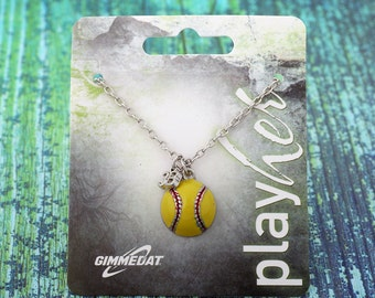 Customizable Softball Third Base Necklace - Personalize with Softball Jersey Number, Heart Charm, or Letter Charm! Great Softball Gift!