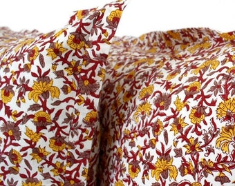 Indian wood-block printed flowering vine pillowcases. Sold in sets of two